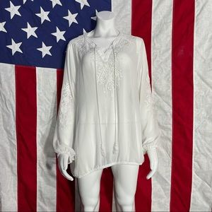 Lane Bryant Sheer white embroidered blouse